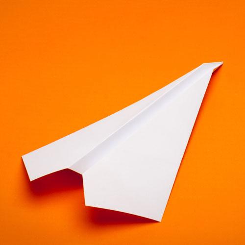 orange paper plane